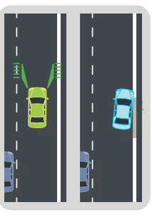 Graphic of lane departure warning increasing turn signal usage