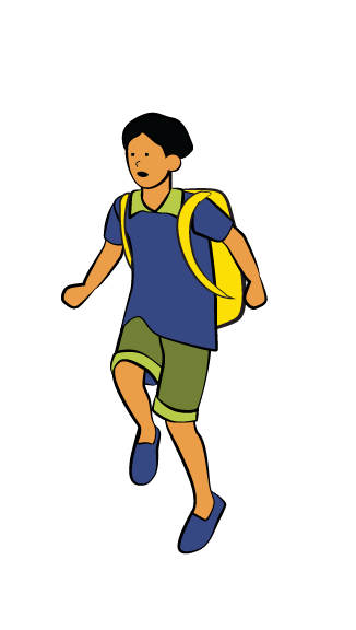 Illustration of boy running with backpack on