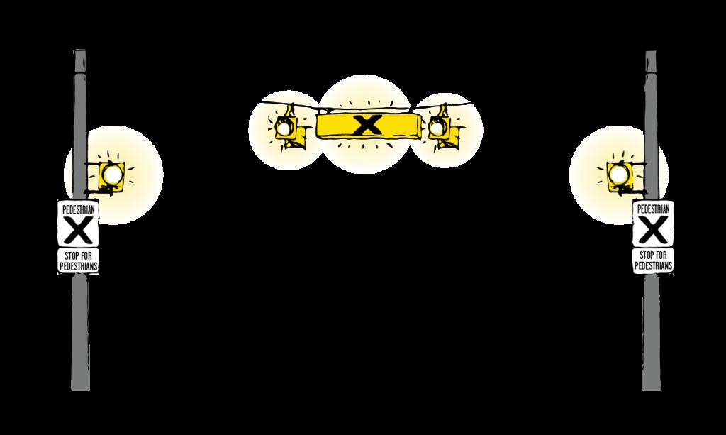 Illustration of a pedestrian crossing signal.