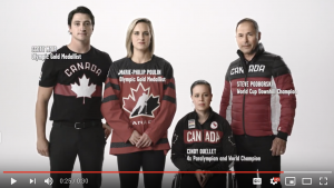 Athletes Scott Moir, Marie-Philip Poulin, Cindy Ouellet and Steve Podborski in Canadian team uniforms
